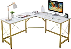 """Mr IRONSTONE L-Shaped Desk 59"""" Computer Corner Desk, Home Gaming Desk, Office Writing Workstation, Space-Saving, Easy to Assemble(White Marble)"""