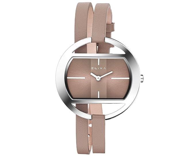 Elixa e125-l512 de la mujer gris doble de cuero Wrap reloj Oval plateado brillante caso Sunray Dial: Elixa: Amazon.es: Relojes