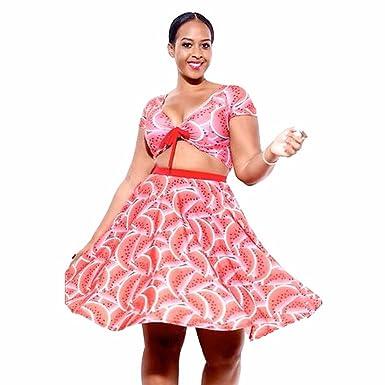 QIYUN.Z De Color Sandia Mujeres Impresos V Torso Desnudo Encabeza ...