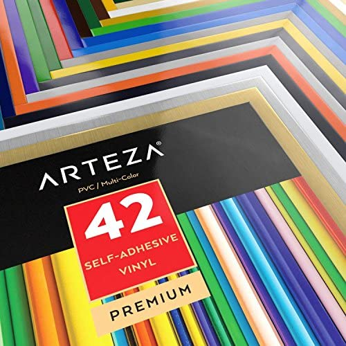 Compatible with Cricut /& Other Craft Cutters 12x12 ARTZ-8080 for Indoor /& Outdoor Projects Assorted Colours Pack of 42 ARTEZA Self Adhesive Vinyl Sheets 12x12 Waterproof and Easy to Weed /& Cut