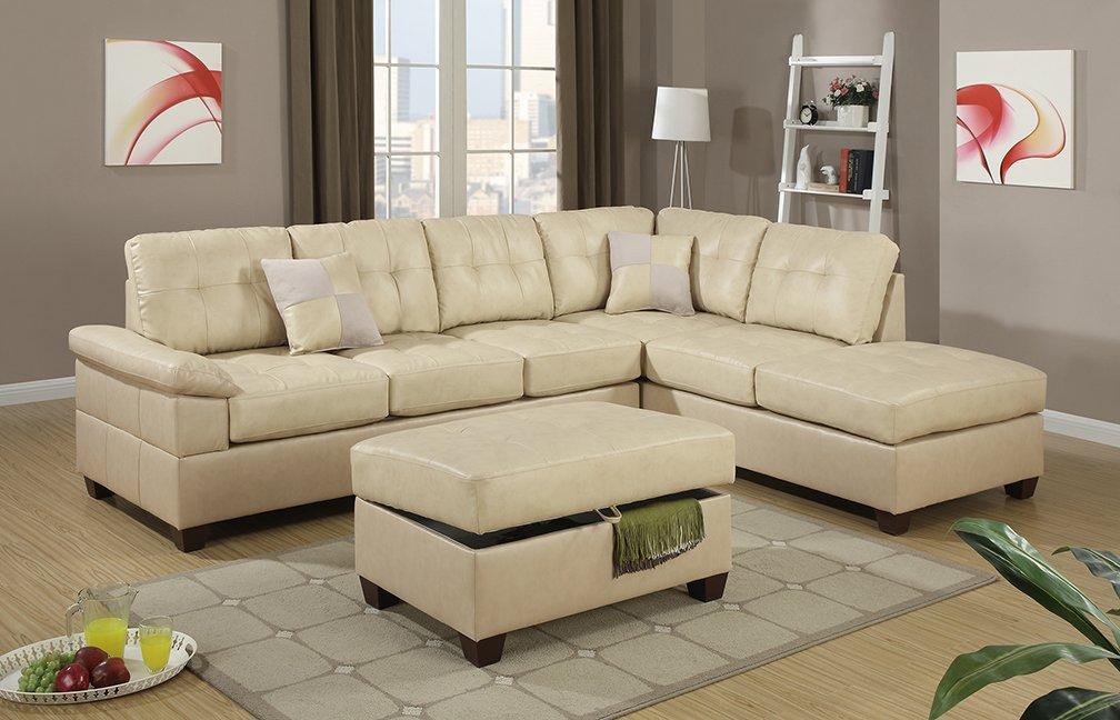 Genial Amazon.com: Poundex Bobkona Randel Bonded Leather 2 Piece Reversible Sectional  Sofa, Khaki: Kitchen U0026 Dining