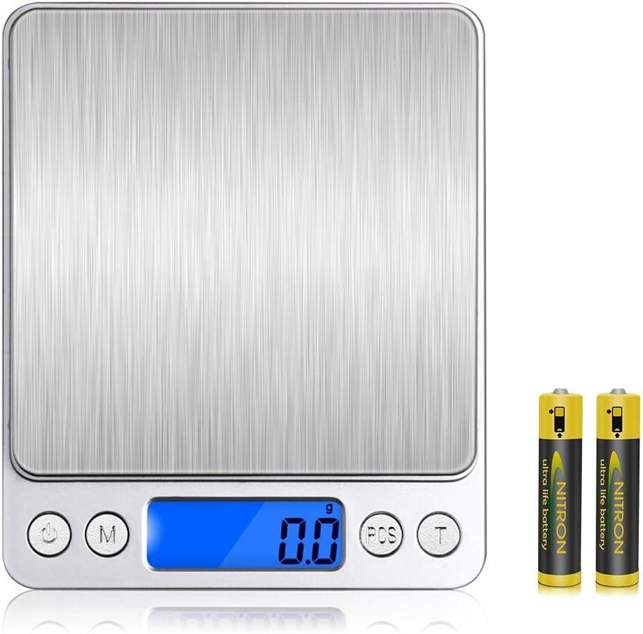 Versiontech Báscula Digital Para Cocina Escala Para Alimentos de 6,6 Lbs/ 3Kg con Plataforma de Acero Inoxidable y Gran Pantalla LCD Balanza Multifuncional Para Cocina de Color Plata Elegante