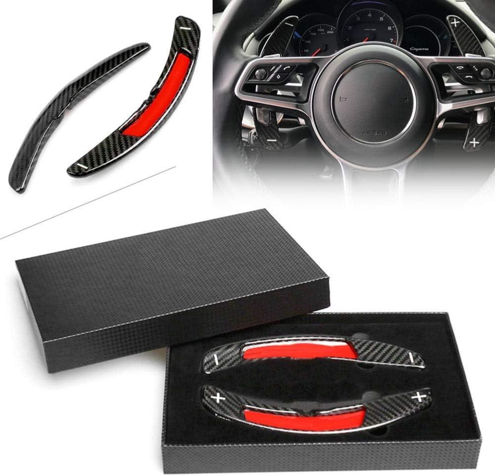 adapt/ée pour Porsche Panamera Macan Cayenne 911 Carrera 991 Boxster//Cayman 718 2016-2017 XQRYUB Palette de Volant en Fibre de Carbone