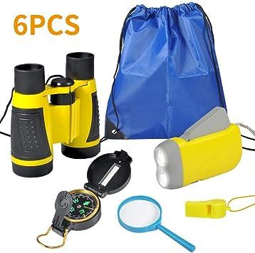 VGEBY Kit de Binoculares para niños - Binoculares para Niños Linterna de Manivela Brújula Lupa Silbato y Mochila con Cordones Juguetes de Exploración 6uds(Amarillo): Amazon.es: Deportes y aire libre