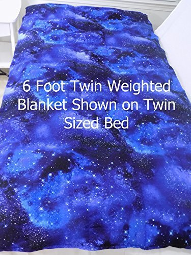 5 Foot Twin Weighted Blanket by Lifetime Sensory Solutions, Weighted Sensory Blanket for Kids (14 lb for 130 lb user, Twinkling Stars)