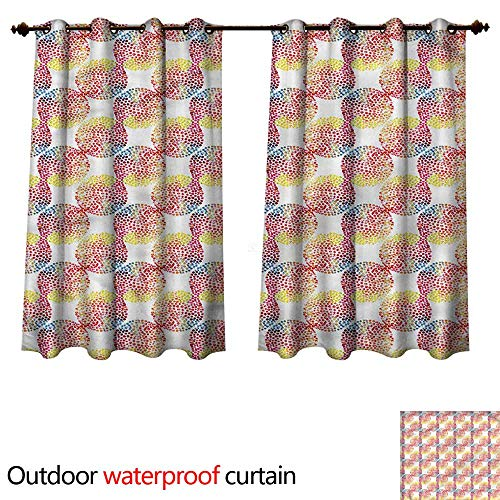 cobeDecor Abstract Home Patio Outdoor Curtain Watercolor Dotted Circles W72 x L72(183cm x ()
