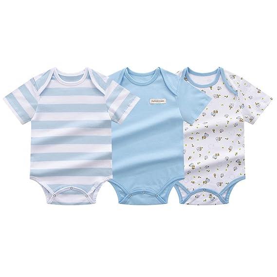 Babynice Bébé Enfant Lot DE 3 Body Combinaison en Coton Manche Courte Eté  Pyjama Barboteuse Doux Rayure Tenues des Bébés 0-18mois  Amazon.fr  Vêtements  et ... e88b3cb77df