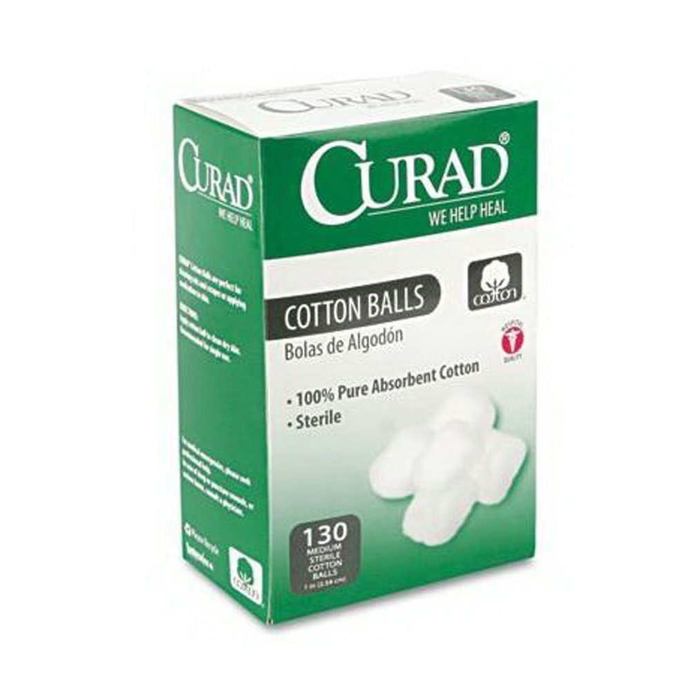 Medline CUR110163 Sterile Cotton Balls, 1'', 130/Box Medline Industries Inc. 9202813