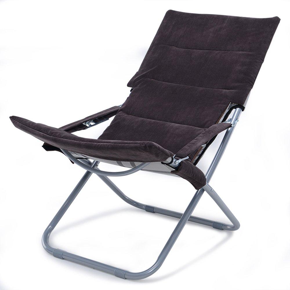 XXHDYR Klappstuhl Mittagspause Siesta Stuhl Büro Balkon Stuhl Rückenlehne Freizeit Im Freien Strand Stuhl Sonnenliege Klappstuhl (Farbe   braun)