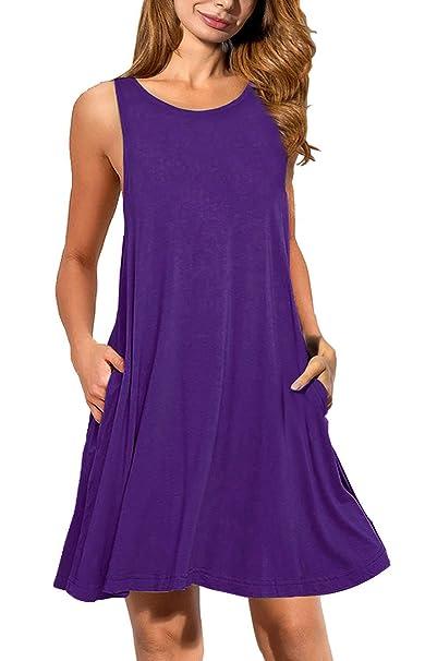 a236ef2aaef7 JOSIFER Womens Cute Casual Summer Aline Dresses Tshirt Dress for Women Knee  Length Sundress Elegant Purple
