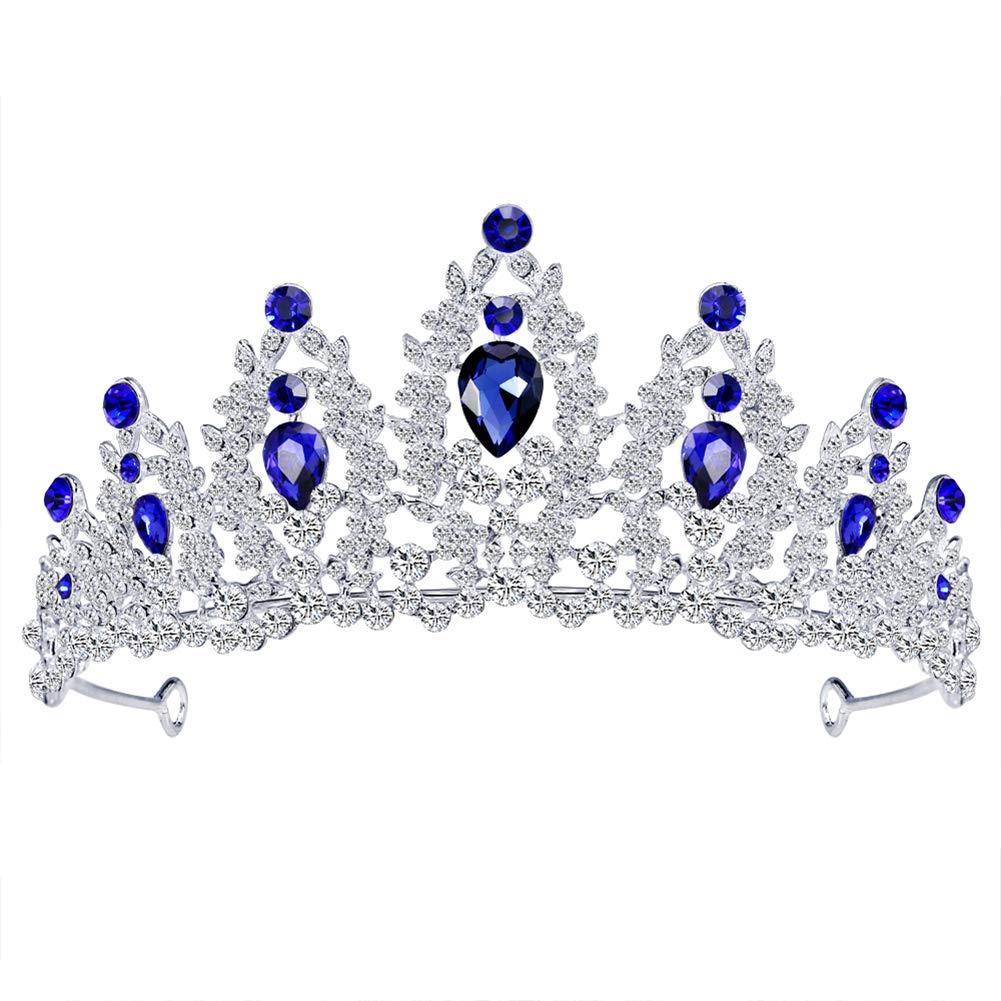 MoGist Tiara Bridal Headpieces Diamond Rhinestone Luxury Headbands Crystal Rhinestones Tiara Crown with Comb for Bridal Wedding Sapphire
