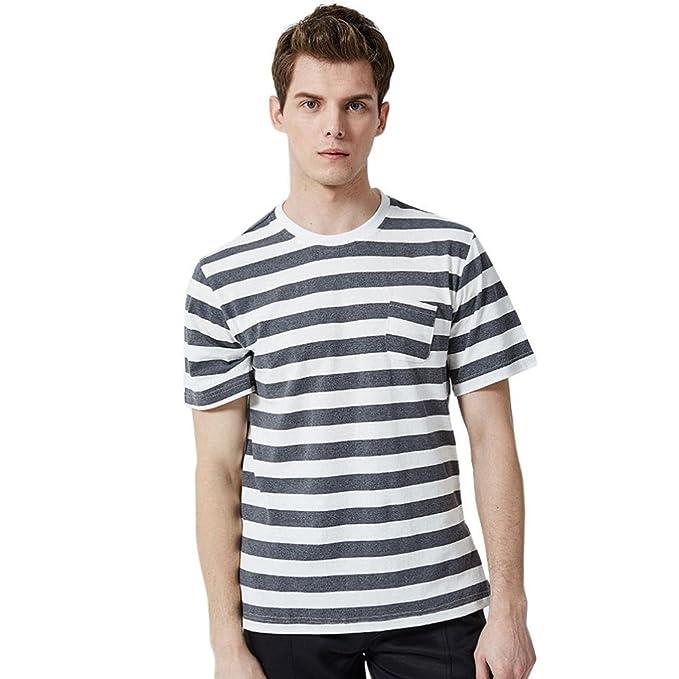 Camisetas Rayas con Bolsillo Hombre LHWY, Camisetas Basicas Algodon De Cuello Redondo Manga Corta Casaca