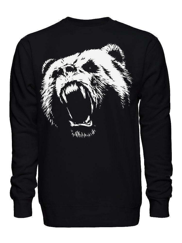 Furry Furious Grizzly Bear Roaring Unisex Crew Neck Sweatshirt