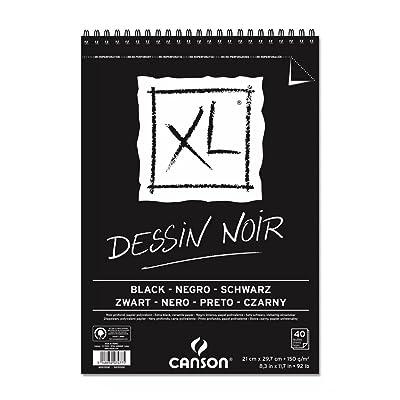 """'Canson XL Dessin Bocetos (Noir, fácil gekörnt 150 g/m², 40 hojas por bloque""""espiral en el lado más corto, negro, color negro 297 x 432 mm: Oficina y papelería"""