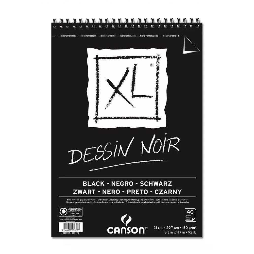 'Canson XL Dessin Noir Blocco da disegno, leggero Grana 150 G/MQ, 40 fogli per blocco'spirale sul lato corto, nero 297 x 432 mm nero leggero Grana 150G/MQ 40fogli per bloccospirale sul lato corto 400039087