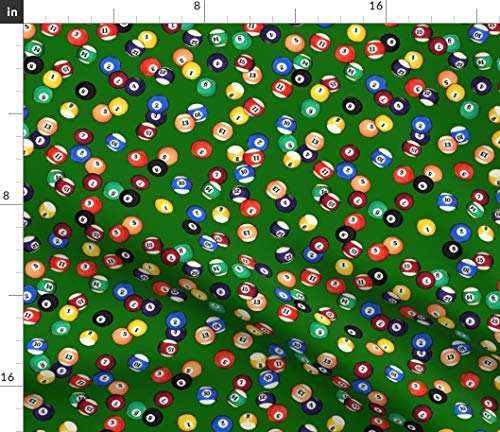 Spoonflower Billiards Fabric - Billiards Pool Balls Billiards Pool Balls Pool Balls Pub 8 Ball Sports by Thinlinetextiles Printed on Petal Signature Cotton Fabric by The -