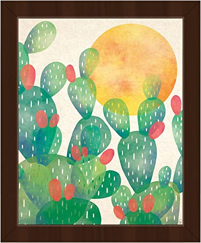 Watercolor Cactus Green: Graphic Painting of Southwestern Mexican Prickly Pear