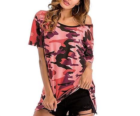ZFFde Moda Camuflaje sin mangas de manga larga camiseta de manga corta para la blusa de las mujeres (Color : As shown, tamaño : Talla única): Amazon.es: ...
