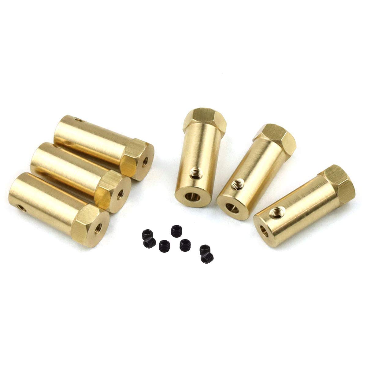 6 Pieces 5mm Flexible Coupling Coupler Connector Hex Coupler for Wheels Tires Shaft Motor