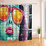KOTOM Art Paintings Decor, Sex Woman with Red Lips Print on Wall Shower Curtains, Mildew Resistant Polyester Fabric Bathroom Decorations, Shower Curtain Hooks Included, 69X75in