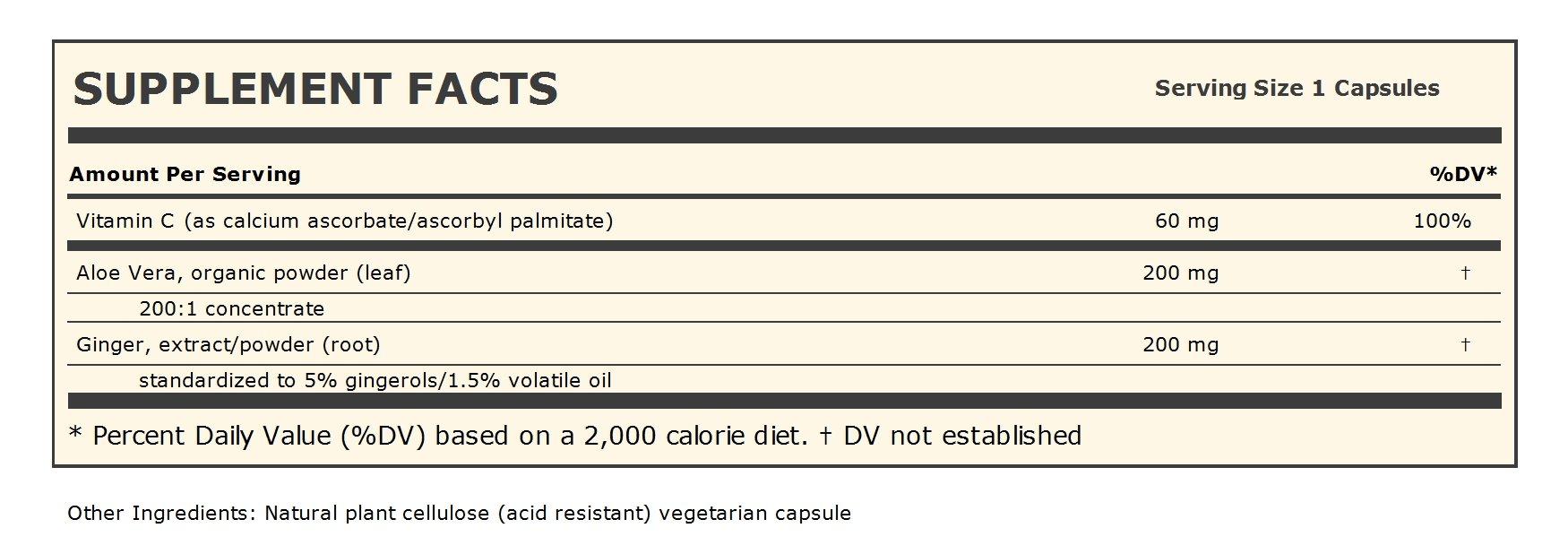 Andrew Lessman Aloe Vera 200 Ginger Root 200, 60 Capsules