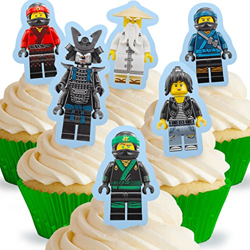 Cakeshop 12 x PRE-CUT Lego Ninjago Movie Stand Up Edible Cake Toppers ()