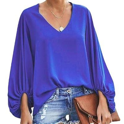 ChengZhong Blusas de Gasa con Cuello en V para Mujer Azul Azul XX-Large: Ropa y accesorios
