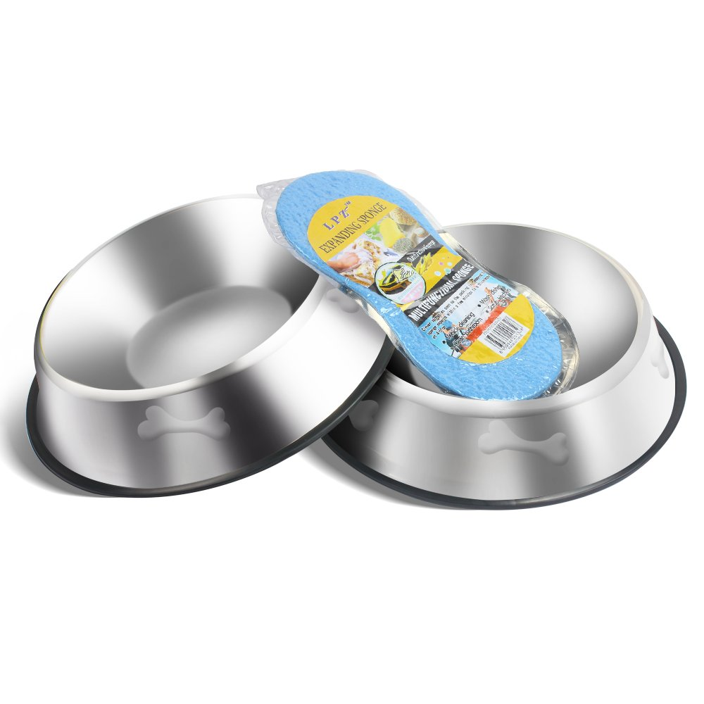 LOOPJOYGAME 2 Pack Stainless Steel Dog Bowls 32 Oz