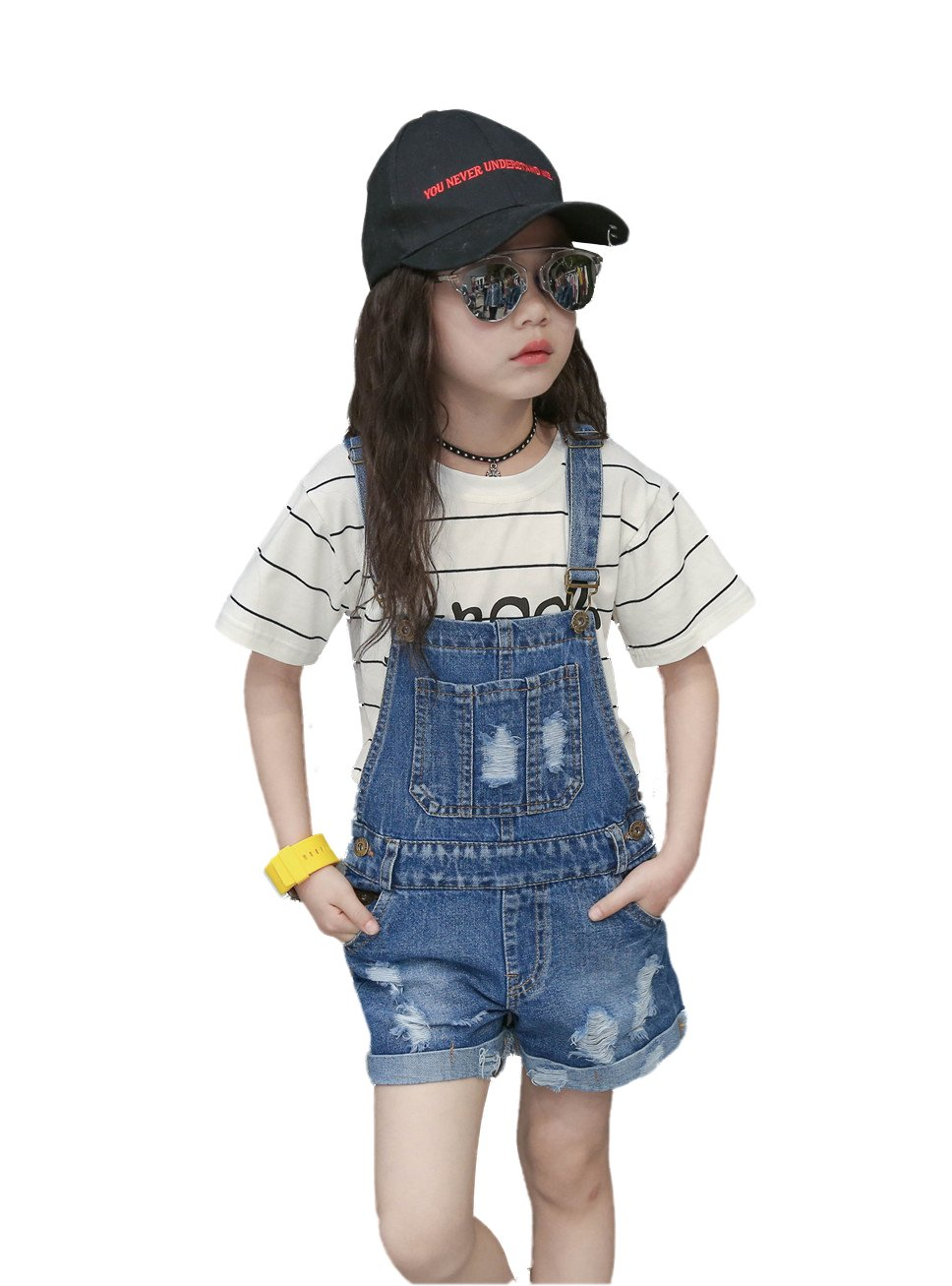Kidscool Girls Big Bibs Ripped Summer Jeans Shortalls,Light Blue,6-7 Years