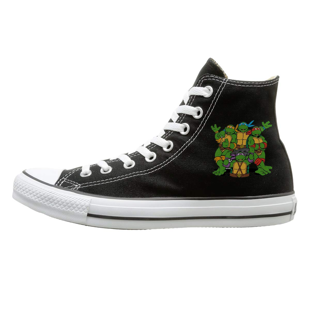 Aiguan Ninja Turtle Canvas Shoes High Top Design Black Sneakers Unisex Style