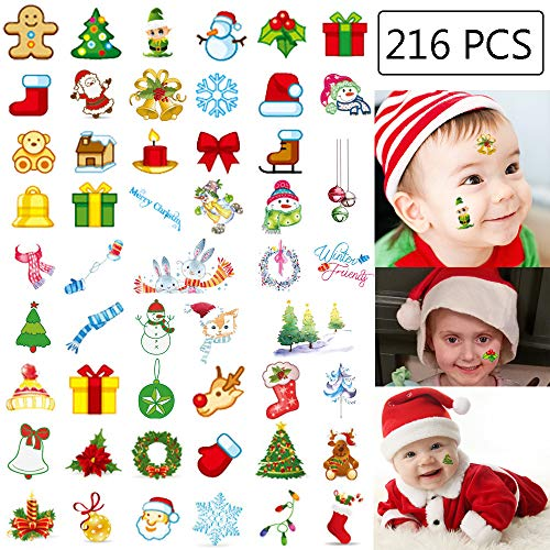 216PCS Christmas Tattoos Temporary for Kids - Holiday/Xmas Party Decorations Supplies Goodie/Gift Bags Favors Stocking Stuffers(20 Sheets) ()