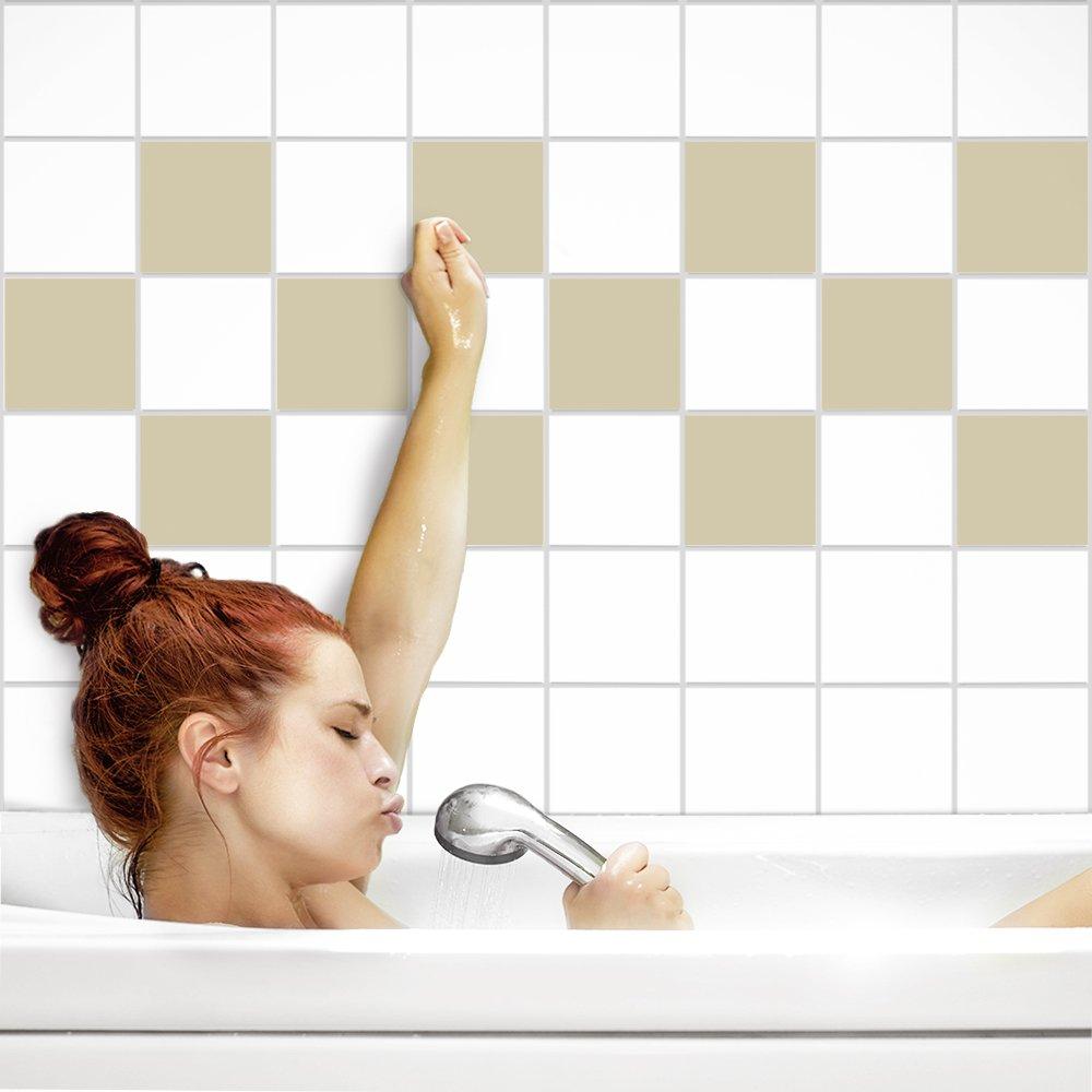 PrintYourHome Fliesenaufkleber für Küche und Bad   einfarbig weiß weiß weiß matt   Fliesenfolie für 20x20cm Fliesen   152 Stück   Klebefliesen günstig in 1A Qualität B072J9NCBS Fliesenaufkleber 650326