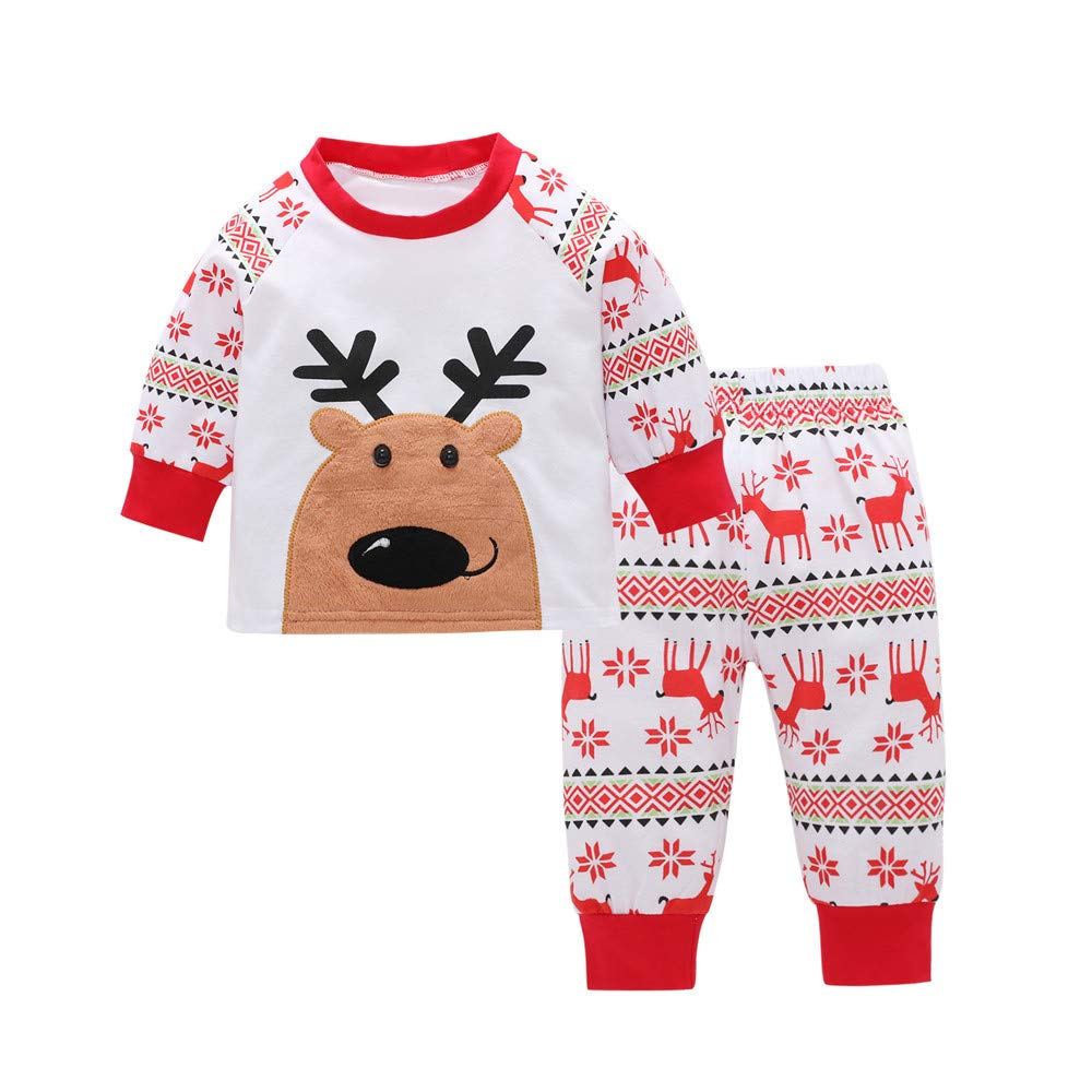 Onefa Toddler Kids Baby Christmas Outfits Clothes Set Girl Deer T Shirt Tops+Pants