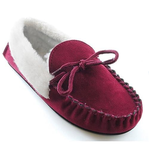 Zapatillas de estar por casa clásicas para mujer (36/Granate)