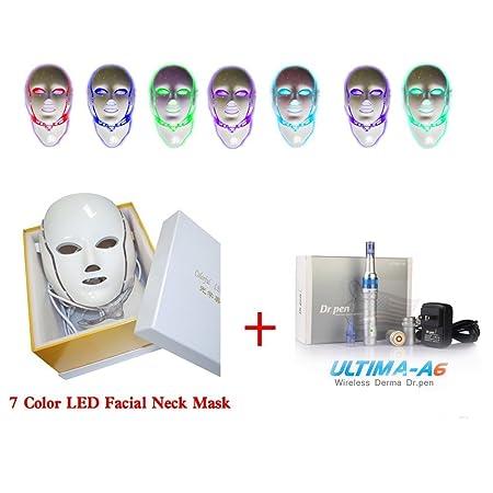 missammy & cuello máscara facial de 7 colores de cara de fotones LED piel rejuvenecimiento máscara de belleza con Ultima A6 Batería silicona Nano Chip ...