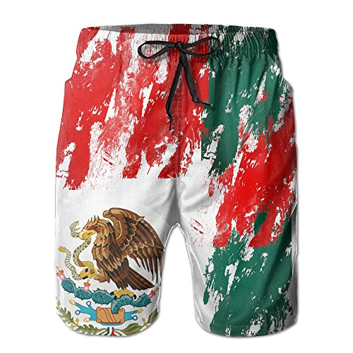 1260e0b8a9 MALAA Mens Mexico Flag Colorful Painting Summer Quick-drying Swim Trunks  Beach Shorts Board Shorts