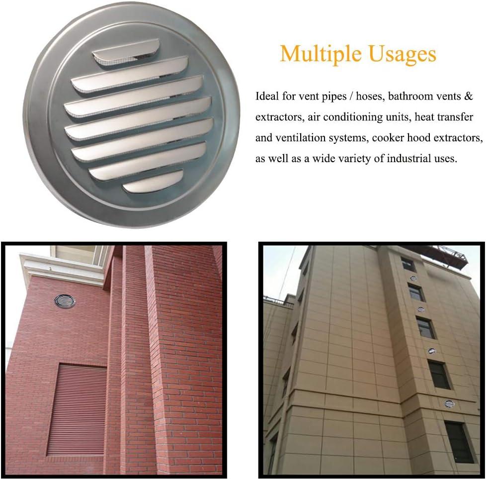 Rejilla de ventilación de pared de acero inoxidable con rejilla de ventilación redonda y plana para ventilación de conductos de aire con rejilla de ventilación integrada para baño, oficina, cocina, ventilación: Amazon.es: