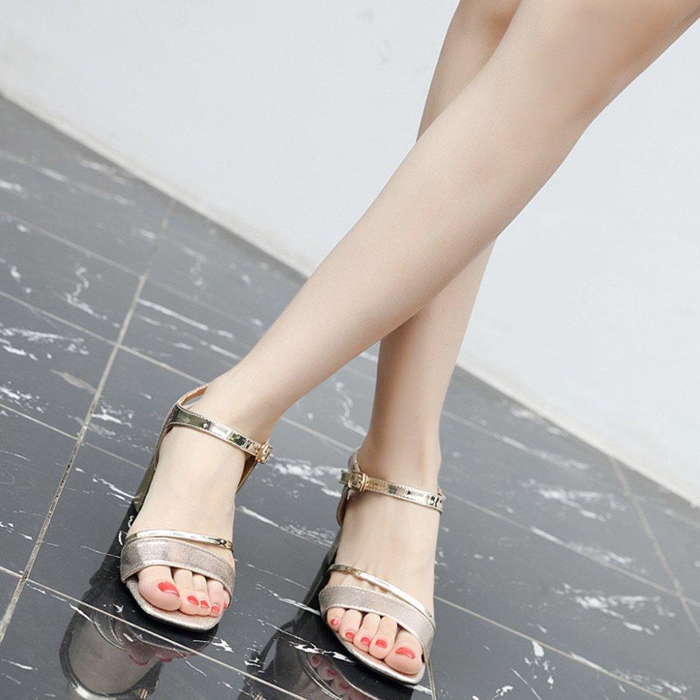 Cy Damen Sommer Sandalen Mode Starke Ferse Schnalle Schnalle Schnalle High Heels Silber Sexy Pumps Für OL Work Party 4edf4b