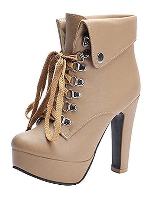 Minetom Mujer Otoño Invierno Botines Moda Tacón Alto Botas Cordones Lace-Up Botas Zapatos De Tacón: Amazon.es: Ropa y accesorios