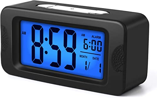 Plumeet Digital Alarm Clocks Kids Clock Light Up All Night, 4 LCD Display Showing Time Alarm Date – Bedside Clocks with Snooze for Bedroom Kitchen Office Battery Operated Black