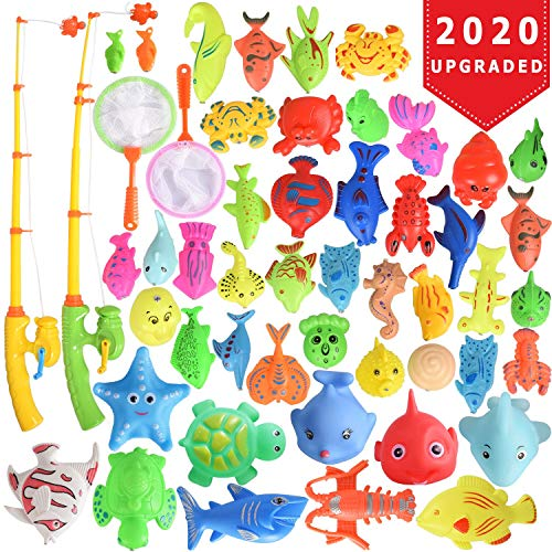 Max Fun 46 Pcs Magnetic Fishing Toys Game Set with Pole Rod Net, Squeezing Water Toys Learning Education Fishin' Bath Toys for Kids
