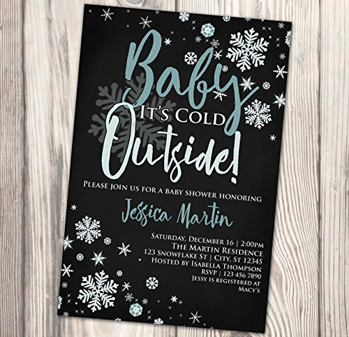 Baby It's Cold Outside Baby Shower Invitation - Winter Baby Sprinkle Chalkboard Invite - Snowflake - 4x6]()