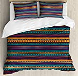 Tribal Duvet Cover Set by Ambesonne, Striped Retro Aztec Pattern with Rich Mexican Ethnic Color Folkloric Print, 3 Piece Bedding Set with Pillow Shams, Queen / Full, Teal Plum and Orange