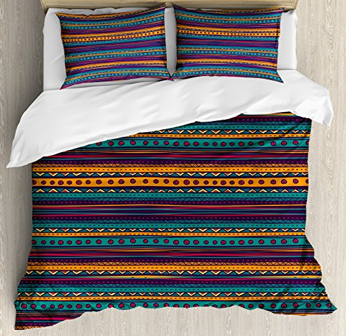 Ambesonne Tribal Duvet Cover Set, Striped Retro Aztec Pattern with Rich Mexican Ethnic Color Folkloric Print, 3 Piece Bedding Set with Pillow Shams, Queen/Full, Teal Plum and Orange