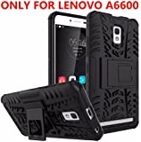 Delkart Hybrid Armor Design Kick Stand-up Feature Dual Layer Protective Shell Hard Back Cover for Lenovo A6600/ A6600 Plus (Black)