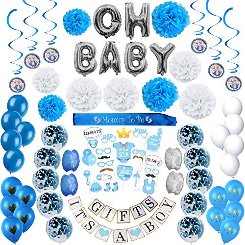 Blue Baby Shower Decorations for Boy: It's a Boy Party Decor Including Silver and Blue Balloons, Banner, Photo Props, PomPoms, Mommy to Be Sash, and Decoration Swirlers - All In -