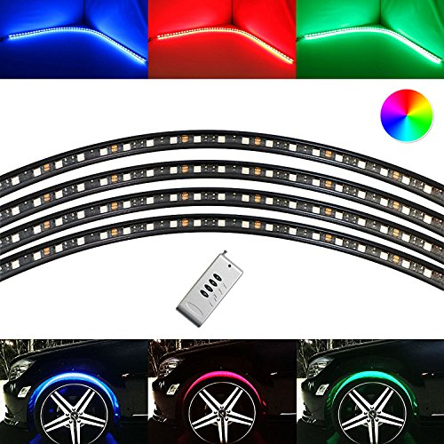 (iJDMTOY 4pcs Flexible Multi-Color RGB LED Wheel-Well Lights | LED Accent Lighting Kit w/ Remote Control)