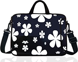 "17-Inch to 17.3-Inch Neoprene Laptop Shoulder Messenger Bag Case Sleeve For 16 16.5 17 17.3"" Inch Acer/Asus/Dell/Lenovo/HP/Macbook (Flower)"