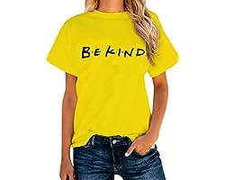 ALAPUSA Women's Friends/Bekind Print Short Sleeve Shirt Casual Graphic Tees Tops
