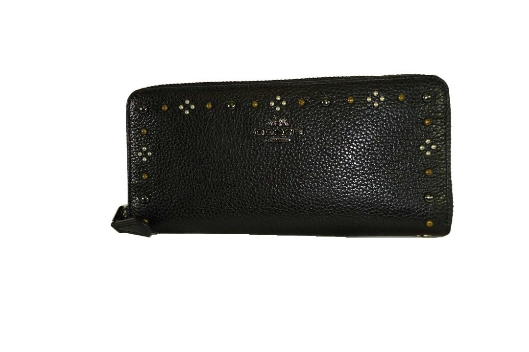 COACH Women's Box Program Daisy Rivets Slim Accordion Zip DK/Black Checkbook Wallet by Coach
